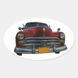 Classic American car in Vinales, Cuba Oval Sticker