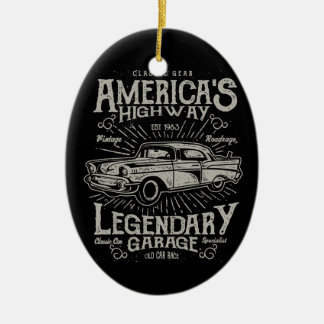 Classic American Muscle Car | Hotrod's Highway Ceramic Ornament