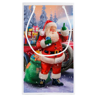 Classic American Santa Claus Small Gift Bag