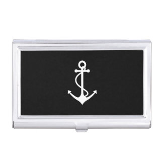 Classic Anchor Black and White Nautical Design Business Card Case