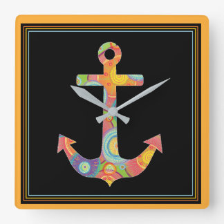 Classic and Colorful Anchor Square Clock
