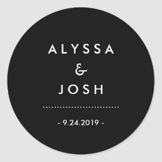 Classic and Minimal Black and White Wedding Round Sticker