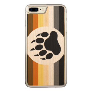 Classic and Stylish Bear Pride Flag and Bear Paw Carved iPhone 8 Plus/7 Plus Case