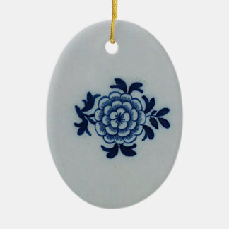 Classic Antiquarian Delft Blue Tile - Floral Motif Ceramic Oval Decoration