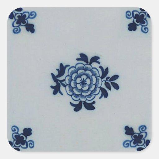 Classic Antiquarian Delft Blue Tile - Floral Motif Sticker