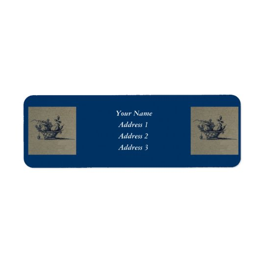 Classic Antiquarian Delft Blue Tile - Fruit Basket Return Address Label
