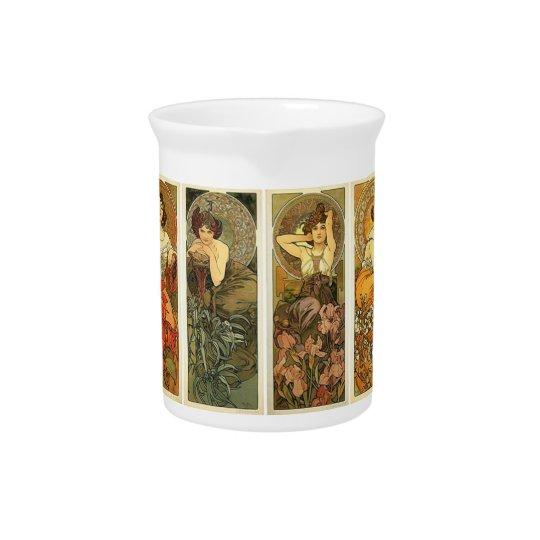 Classic Art Nouveau Mucha Porcelain Pitcher