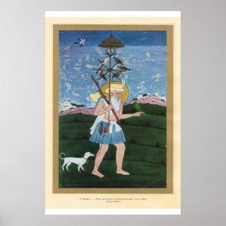 Classic Asian Art Mughal, birdcatcher 18th century Poster