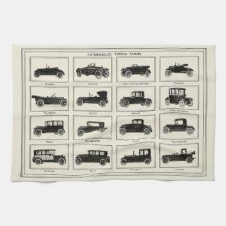 Classic automobile car chart vintage art collector tea towel