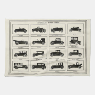 Classic automobile car chart vintage art collector towels