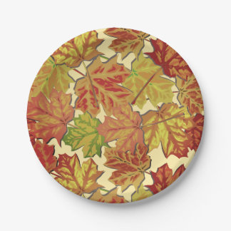 Classic Autumn Leaves Paper Plate 7 Inch Paper Plate