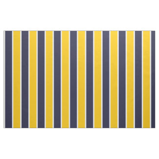 Classic Big Bold Yellow Blue White Stripes Pattern Fabric