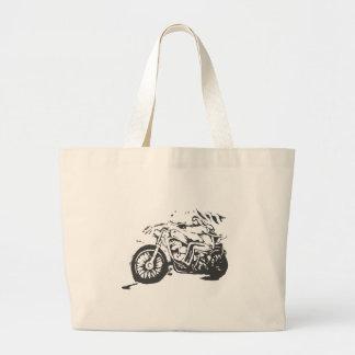 Classic Biker On Chopper Large Tote Bag