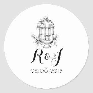 Classic Birdcage Wedding Invitation Stickers