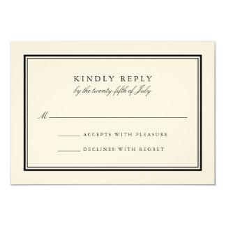 Classic Black and Cream Wedding RSVP Card