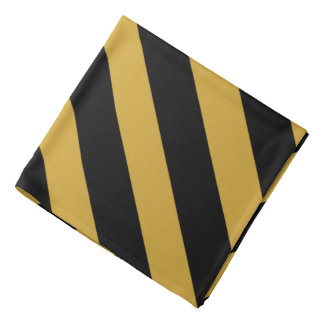 Classic Black and Gold Dialgonal Striped Bandana