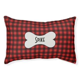 Classic Black and Red Check Pattern Gingham Pet Bed