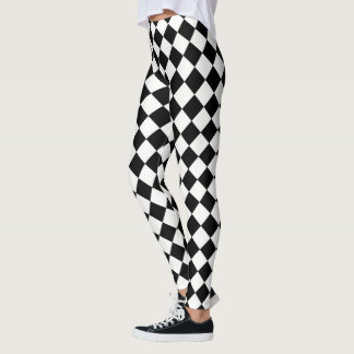 Classic Black and White Checkers Decor on Leggings