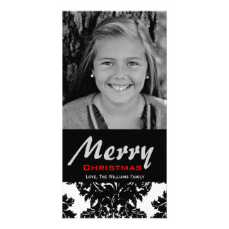 Classic Black and White Damask Customize Color Photo Card Template