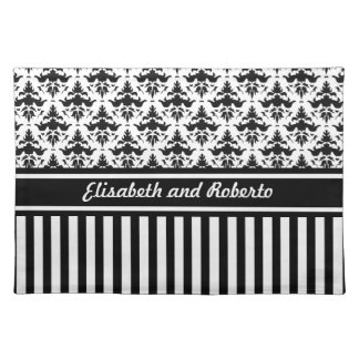 Classic Black and White Damask Wedding Custom Placemats