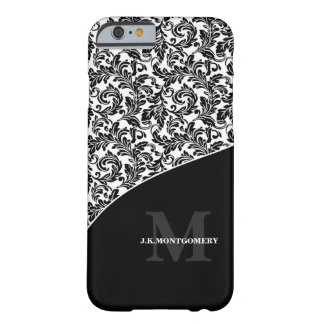 Classic Black and White Damask with Monogram Barely There iPhone 6 Case