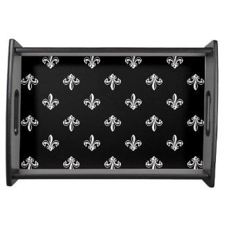 Classic Black and White Fleur-de-lis Pattern Serving Tray