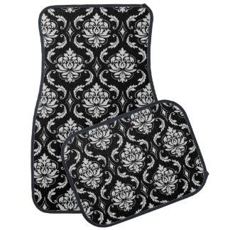 Classic Black and White Floral Damask Pattern Car Mat