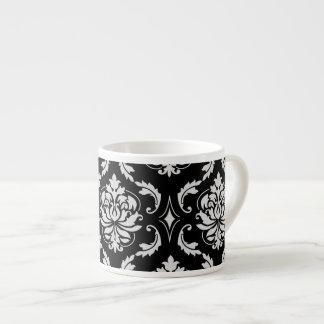 Classic Black and White Floral Damask Pattern Espresso Mug