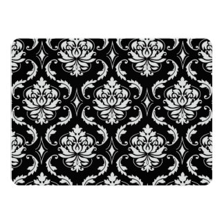 Classic Black and White Floral Damask Pattern 14 Cm X 19 Cm Invitation Card