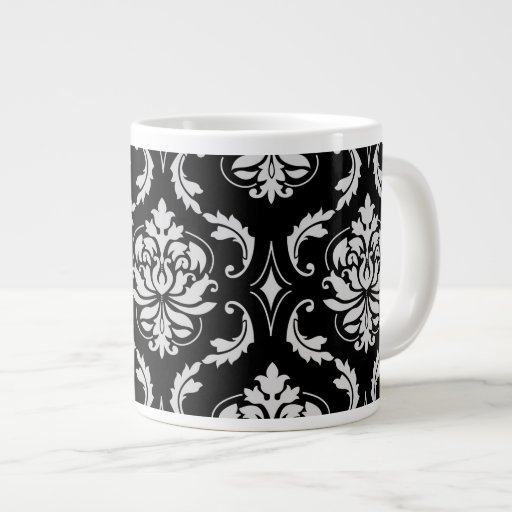 Classic Black and White Floral Damask Pattern Extra Large Mugs