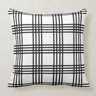 Classic Black and White Four Stripe Plaid Throw Pillow