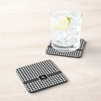 Classic Black and White Houndstooth Monogram Drink Coaster