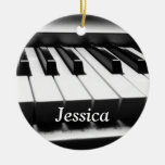 Classic Black and White Keyboard Christmas Tree Ornaments