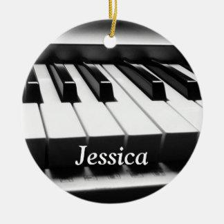Classic Black and White Keyboard Round Ceramic Decoration