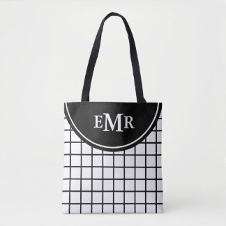 Classic Black and White Lattice Stripe Monogram Tote Bag