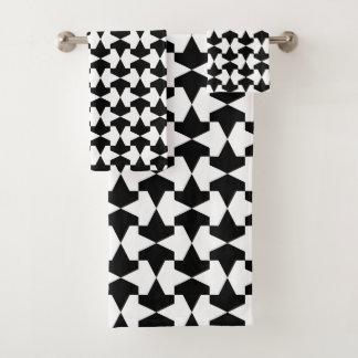 Classic Black and White Mamluks Pattern Bath Towel Set