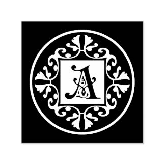 Classic Black And White Monogram Initial A Self-inking Stamp