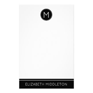 Classic Black and White Monogram Stationery