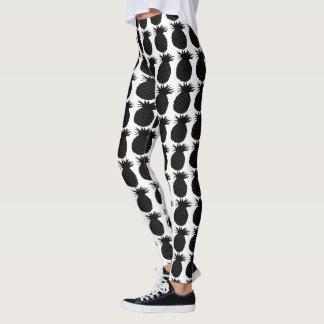 Classic Black and White Pineapple Pattern Leggings