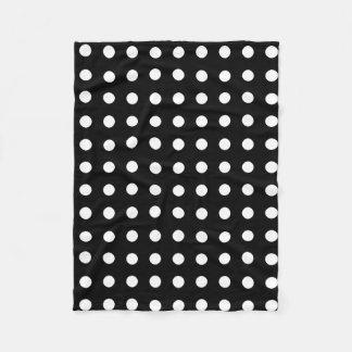 Classic black and white polka dots fleece blanket
