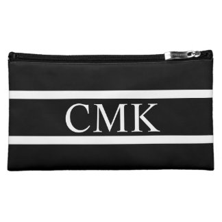 Classic Black and White Stripe Monogram Makeup Bag