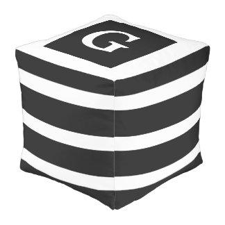 Classic Black and White Stripe Monogram Pouf