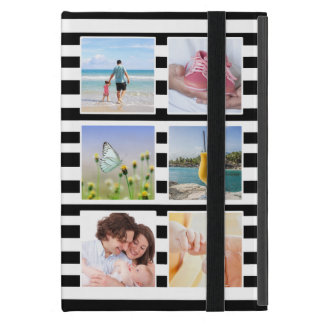 Classic Black and White Stripes Photo Collage iPad Mini Cover
