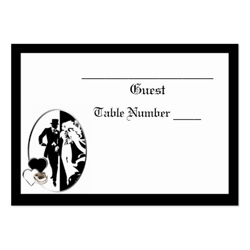 Classic Black and White Wedding Table Seating Business Card Template