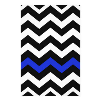 Classic Black and White Zigzag With Blue Personalised Stationery