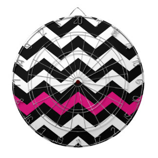 Classic Black and White Zigzag With Hot Pink Dart Boards