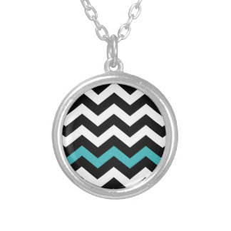 Classic Black and White Zigzag With Light Blue Silver Plated Necklace
