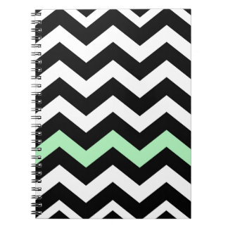 Classic Black and White Zigzag With Mint Green Notebook