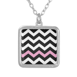 Classic Black and White Zigzag With Pink Square Pendant Necklace