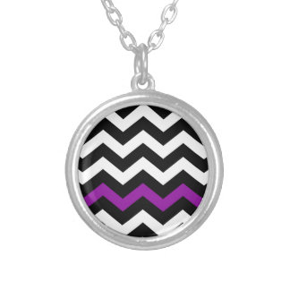 Classic Black and White Zigzag With Purple Round Pendant Necklace